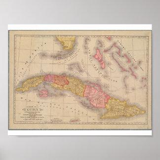 Mapa del poster del vintage de Cuba Póster