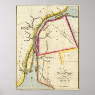 Mapa del río Detroit y del país adyacente Póster