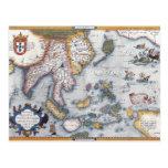 Mapa del siglo XVI de Asia sudoriental y de Indone Tarjetas Postales