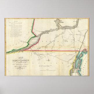Mapa del St. Lorenzo y país adyacente del río Impresiones