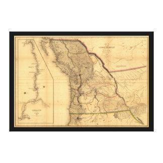 Mapa del territorio de Oregon (1844) Impresión En Lienzo