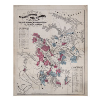 MAPA del VALLE 1870 del CUMBERLAND Posters