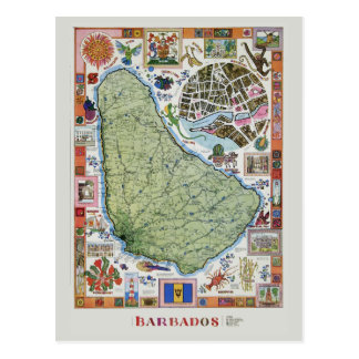 Mapa del viaje de Barbado del vintage Postal