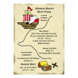 Mapa del viaje del cumpleaños del pirata