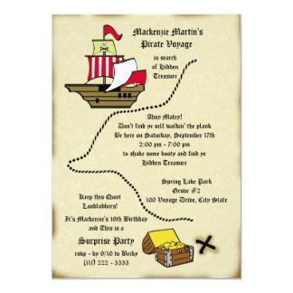 Mapa del viaje del cumpleaños del pirata invitación 12,7 x 17,8 cm