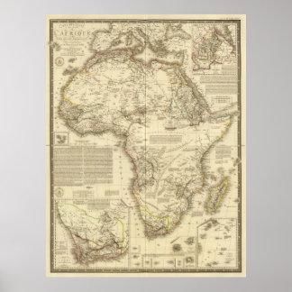 Mapa del vintage de África (1828) Póster