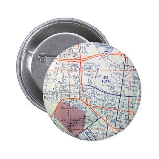 Mapa del vintage de ALBUQUERQUE Chapa Redonda De 5 Cm
