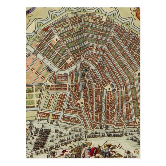 Mapa del vintage de Amsterdam (1688) Postal