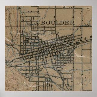 Mapa del vintage de Boulder Colorado (1904) Póster