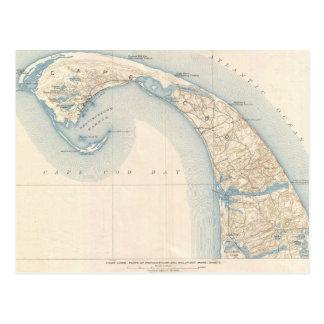 Mapa del vintage de Cape Cod más bajo Postal