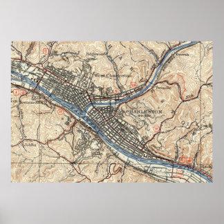 Mapa del vintage de Charleston Virginia Occidental Póster