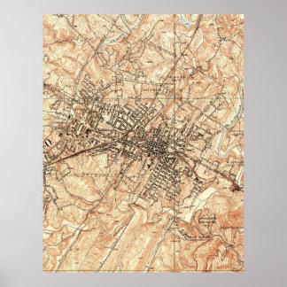 Mapa del vintage de Charlottesville Virginia Póster