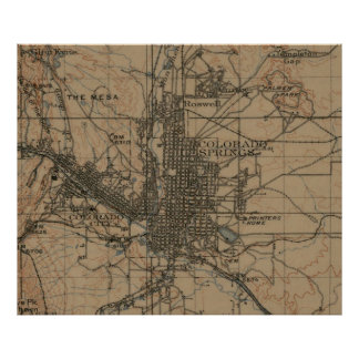 Mapa del vintage de Colorado Springs CO (1907) Póster