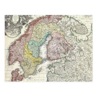 Mapa del vintage de Escandinavia (1730) Postal