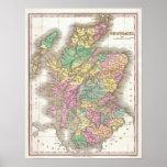 Mapa del vintage de Escocia (1827) Poster