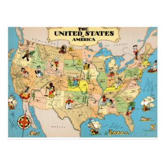 Mapa del vintage de Estados Unidos Postal