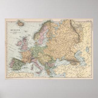 Mapa del vintage de Europa (1892) Póster