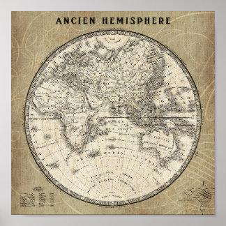 Mapa del vintage de Europa y de Asia Póster