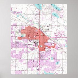 Mapa del vintage de Fort Collins Colorado (1960) Póster