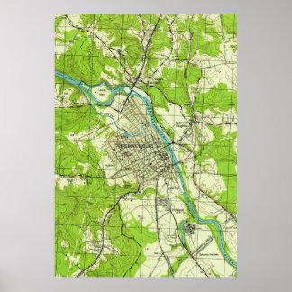 Mapa del vintage de Fredericksburg Virginia (1944) Póster