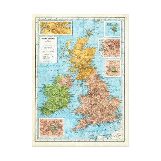 Mapa del vintage de Gran Bretaña y de Irlanda Lienzo