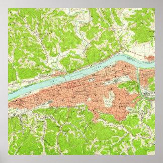 Mapa del vintage de Huntington Virginia Occidental Póster