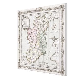 Mapa del vintage de Irlanda (1766) Lienzo