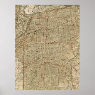 Mapa del vintage de Kansas City Missouri (1935) Póster