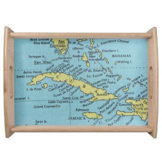 Mapa del vintage de la bandeja de la porción de