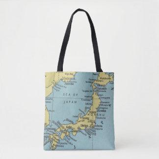 Mapa del vintage de la bolsa de asas de Japón