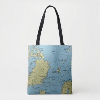 Mapa del vintage de la bolsa de asas de Polo Norte