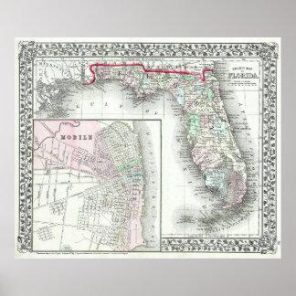 Mapa del vintage de la Florida y del AL móvil Póster
