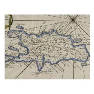 Mapa del vintage de la República Dominicana (1750) Postal