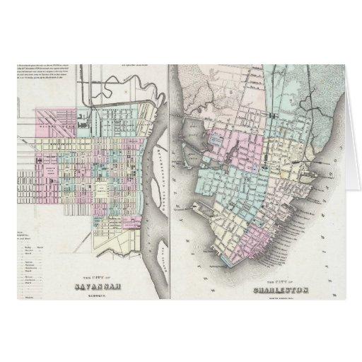 Mapa del vintage de la sabana y de Charleston (185 Felicitación