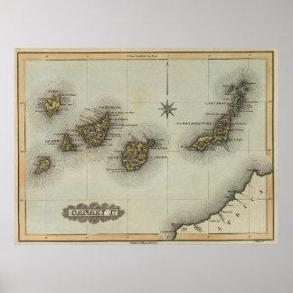 Mapa del vintage de las islas Canarias (1823) Póster