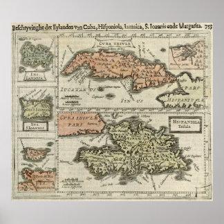 Mapa del vintage de las islas caribeñas (1630) póster