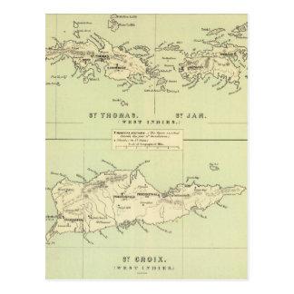 Mapa del vintage de las Islas Vírgenes (1853) Postal