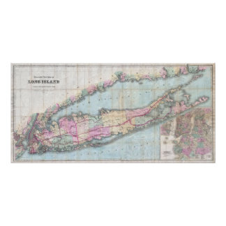 Mapa del vintage de Long Island (1880) Póster