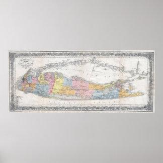 Mapa del vintage de Long Island Nueva York (1857) Póster