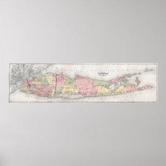 Mapa del vintage de Long Island Nueva York (1873) Póster