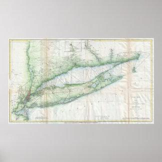 Mapa del vintage de Long Island NY (1877) Póster