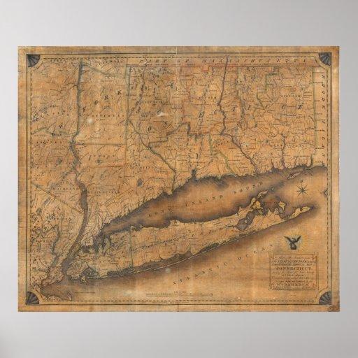 Mapa del vintage de Long Island y de Connecticut ( Poster