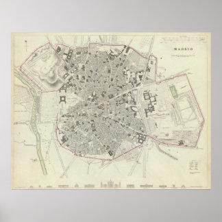 Mapa del vintage de Madrid España (1831) Póster