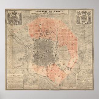 Mapa del vintage de Madrid España (1861) Póster