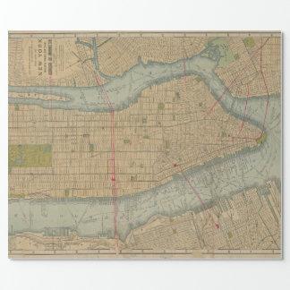 Mapa del vintage de New York City Manhattan Papel De Regalo