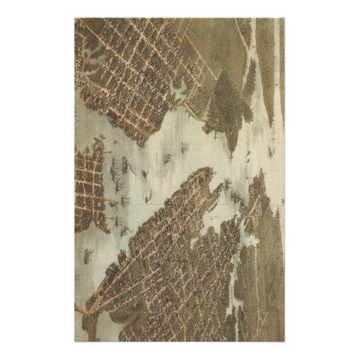 Mapa del vintage de Norfolk y de Portsmouth VA (18 Papeleria De Diseño