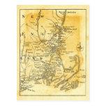 Mapa del vintage de Nueva Inglaterra Postal