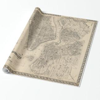 Mapa del vintage de NYC y de Brooklyn (1855) Papel De Regalo