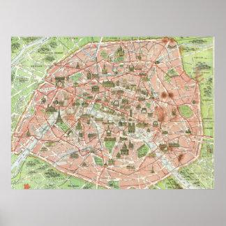 Mapa del vintage de París (1920) Póster
