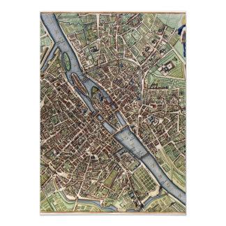 Mapa del vintage de París Invitación Personalizada